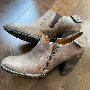 Taupe Leather Side Zip Ankle Bootie